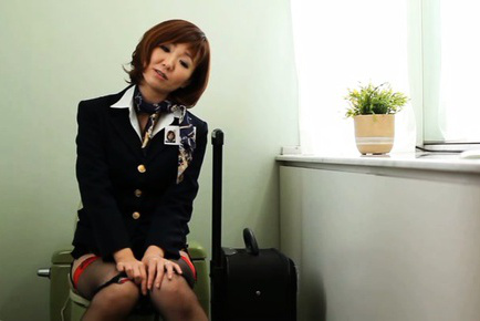 Sayuri kinsei. Sayuri Kinsei Asian stewardess gets orgasm from dildo on WC